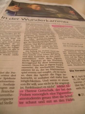 Schwäbisches Tagblatt, 09. April, Pressetext 'Wunderkammer', Peter Ertle
