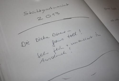 Gästebucheintrag im FITZ zur Stuttgartnacht