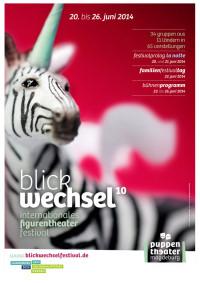 Plakat des 10. Internationalen Figurentheaterfestivals 'Blickwechsel'; Quelle: blickwechselfestival.de