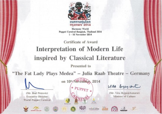 Certificate of Award; Harmony World Puppet Carnival 2014, Bangkok, Thailand