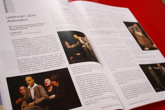 Artikel in Theaterzeitschrift 'Puppen Menschen und Objekte'