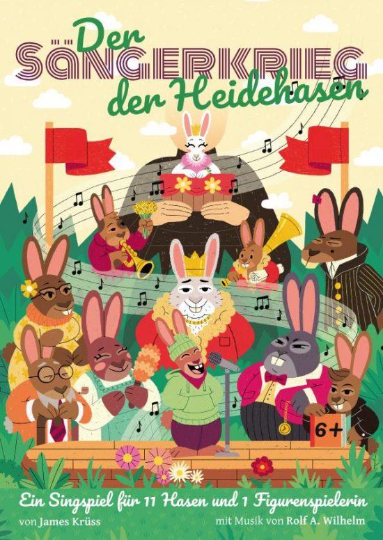 Postkartenmotiv 'Der Sängerkrieg der Heidehasen'; Graphik: Yves Paradis & Carsten Bach