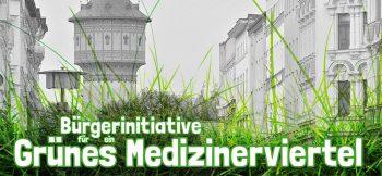 Banner der Bürgerinitiative für ein Grünes Medizinerviertel in Halle (Saale), mit dem Wasserturm Nord im Hintergrund