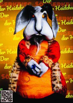 König Lamprecht der Siebente aus der Figurentheater Produktion 'Der Sängerkrieg der Heidehasen' von Figurenspielerin Julia Raab, hier als Sticker zum Einkleben in 'Das große Heft vom Sängerkrieg der Heidehasen', das theaterpädagogische Begleitheft zur Inszenierung.
