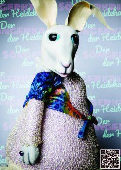 Die Prinzessin des Heidehasenreiches aus der Figurentheater Produktion 'Der Sängerkrieg der Heidehasen' von Figurenspielerin Julia Raab, hier als Sticker zum Einkleben in 'Das große Heft vom Sängerkrieg der Heidehasen', das theaterpädagogische Begleitheft zur Inszenierung.
