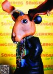 Otto Lampe aus der Figurentheater Produktion 'Der Sängerkrieg der Heidehasen' von Figurenspielerin Julia Raab, hier als Sticker zum Einkleben in 'Das große Heft vom Sängerkrieg der Heidehasen', das theaterpädagogische Begleitheft zur Inszenierung.