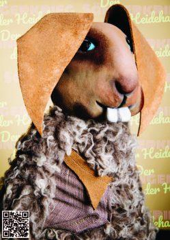Hyazinth Löffelstein aus der Figurentheater Produktion 'Der Sängerkrieg der Heidehasen' von Figurenspielerin Julia Raab, hier als Sticker zum Einkleben in 'Das große Heft vom Sängerkrieg der Heidehasen', das theaterpädagogische Begleitheft zur Inszenierung.