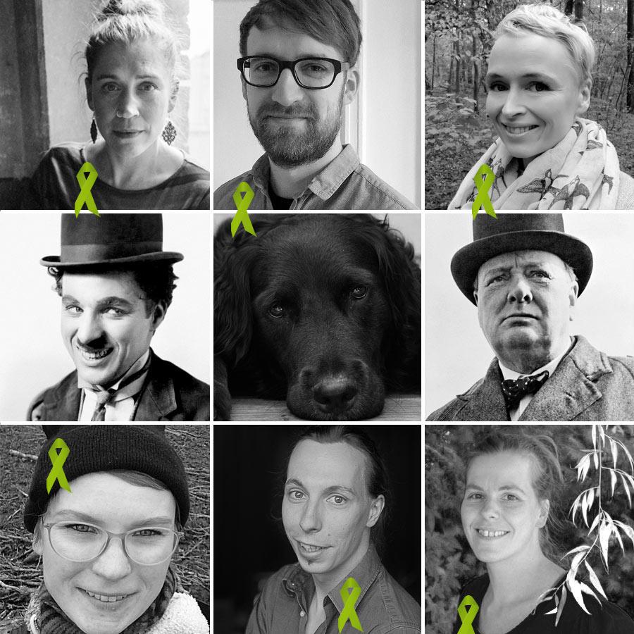 Team Portraits mit grünen Schleifen zum Welttag der seelischen Gesundheit 2019