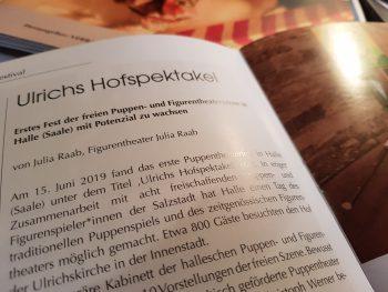"""Artikel """"Ulrichs Hofspektakel""""; Zeitschrift Puppen Menschen & Objekte"""