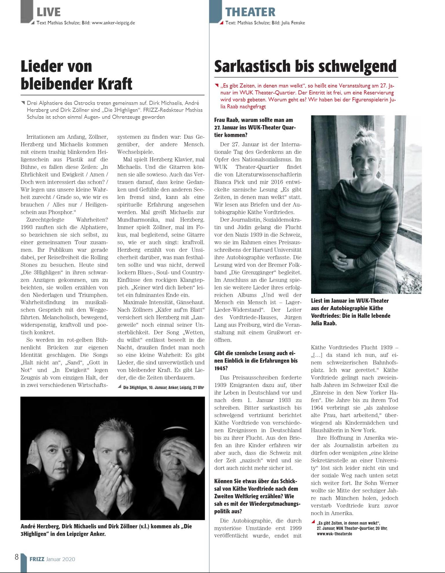 Julia Raab im Interview auf Seite 8 des frizz Magazin Halle/Leipzig, Ausgabe 01-2020