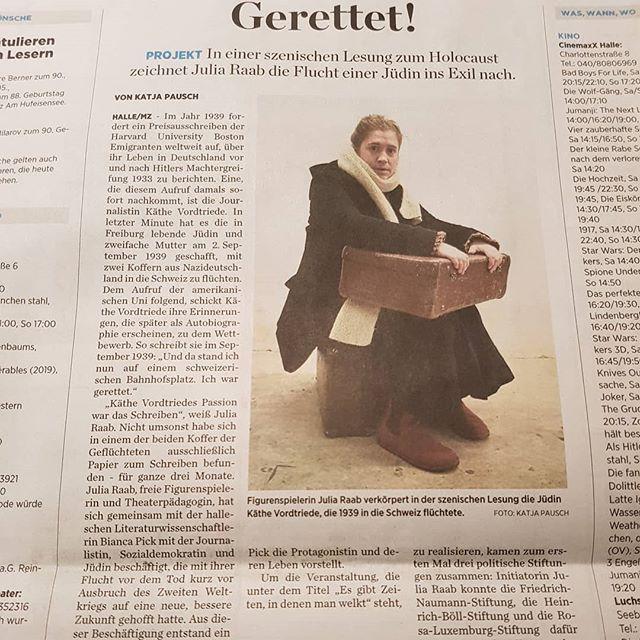 Beitrag 'Gerrettet!' in der Mitteldeutschen Zeitung vom 25.01. über Käthe Vordtriede und unsere Gedenkveranstaltung mit Lesung & Konzert am 27.01.2020