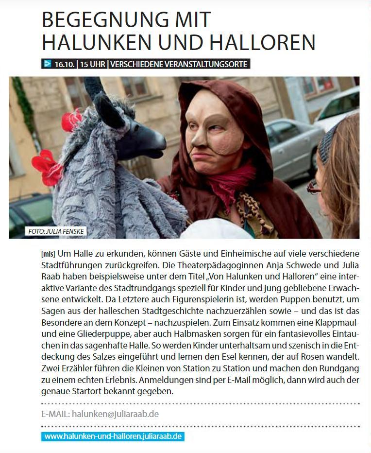 Beitrag 'Begegnungen mit Halunken und Halloren' in der aha-alleshalle, Oktober, 2016, Seite 10