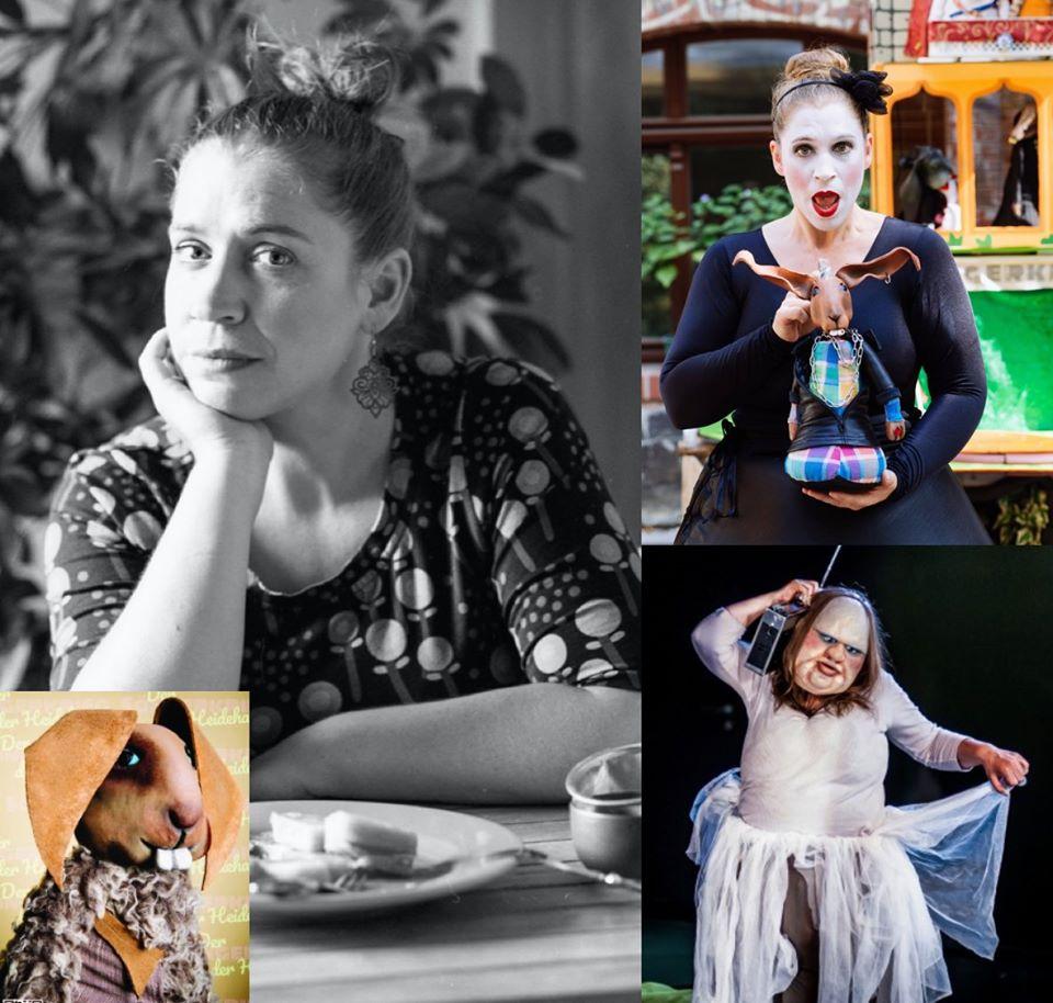 Figurenspielerin Julia Raab als 'Die Dicke', in 'Der Sängerkrieg der Heidehasen' und privat in der Küche