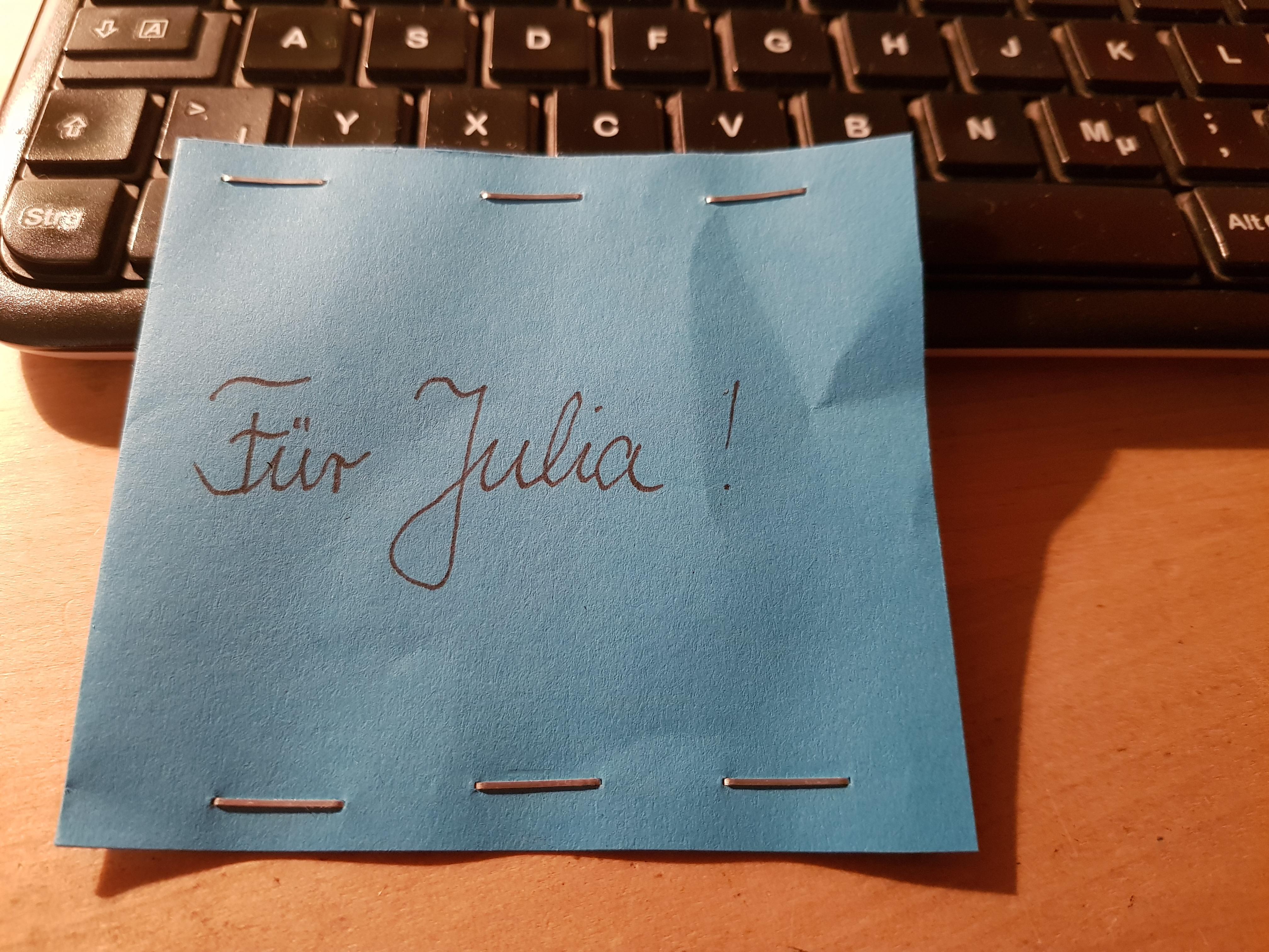 Eine anonyme Spende an Figurenspielerin Julia Raab