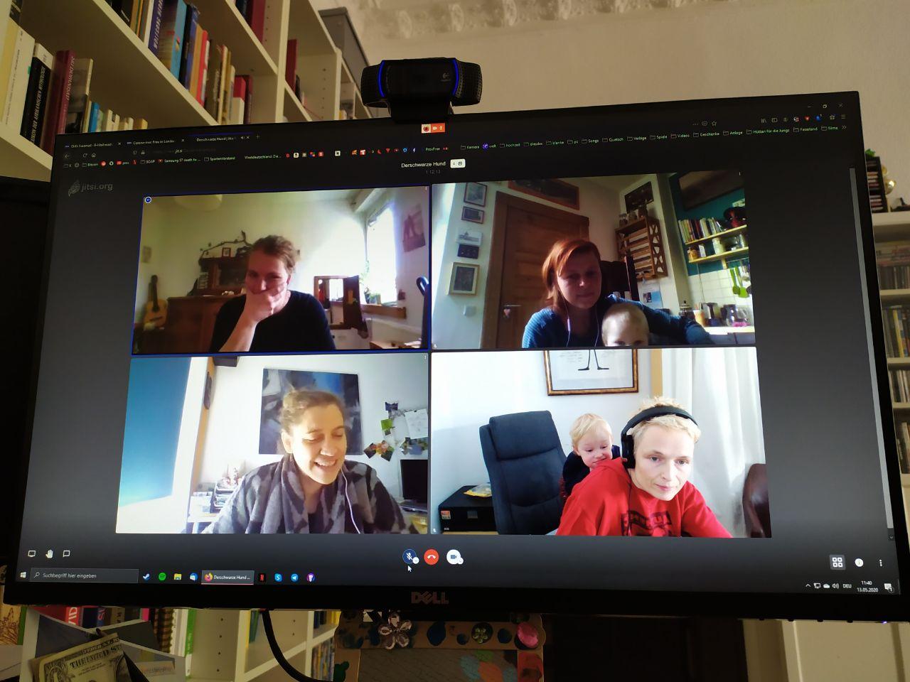 Digitales Teammeeting via jitsie zur Produktion 'Der schwarze Hund'