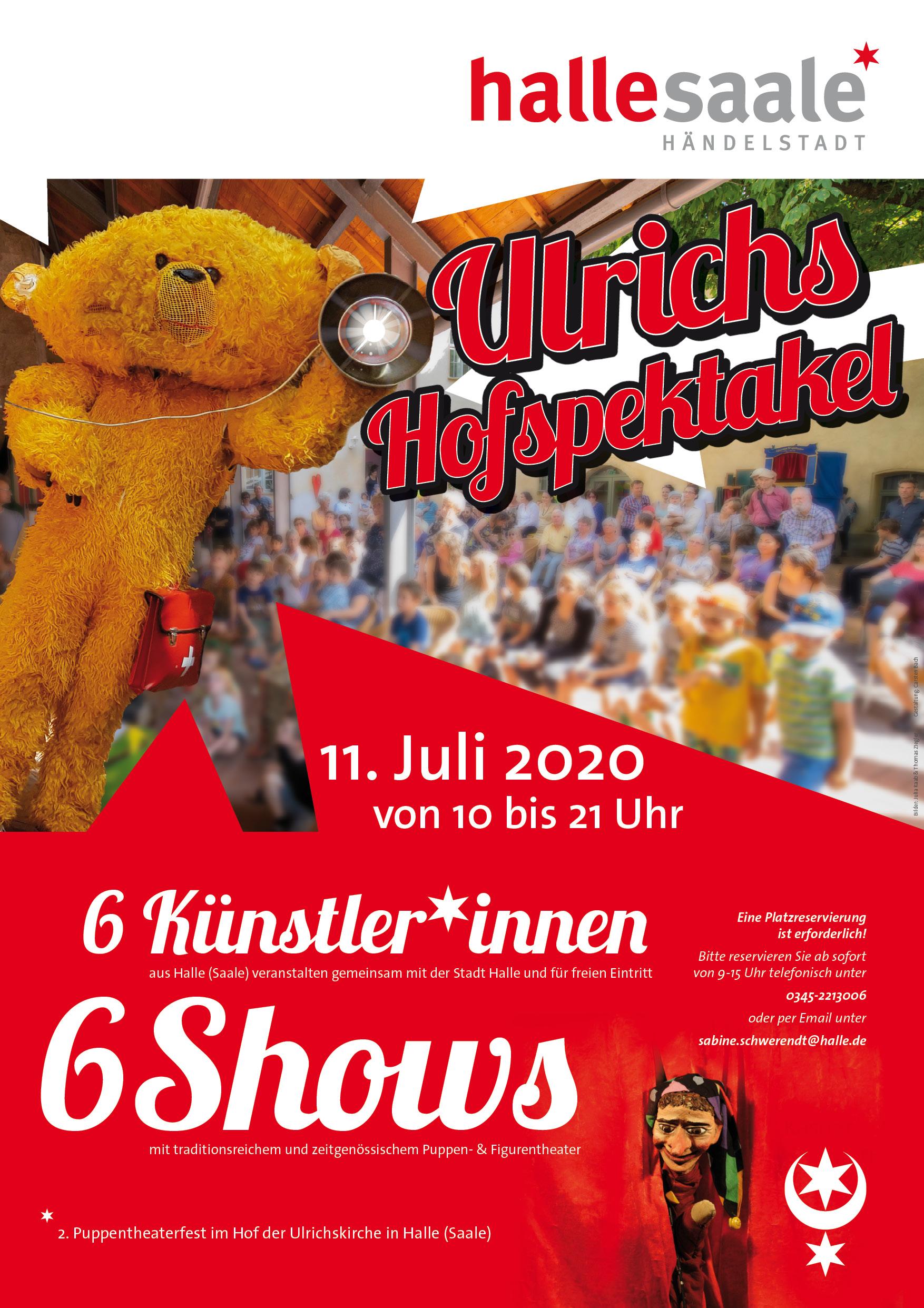 Plakat des zweiten Puppentheaterfest Halle 'Ulrichs Hofspektakel', Gestaltung: Mediengestalter Carsten Bach