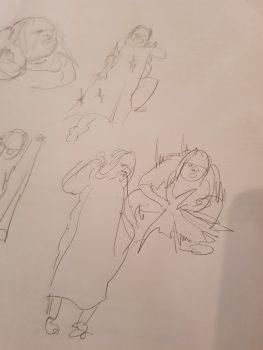 Zeichnungen von Hector zu 'Die Dicke - spielt Medea' von Figurenspielerin Julia Raab