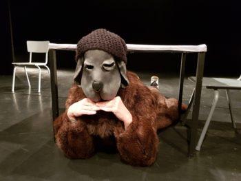 """Filmdreh im WUK Theater Quartier von Szenen aus der Figurentheater-Produktion """"Der schwarze Hund"""" mit Figurenspielerin Julia Raab, Theaterpädagogin Anja Schwede und Kameramann Matthias Reger"""