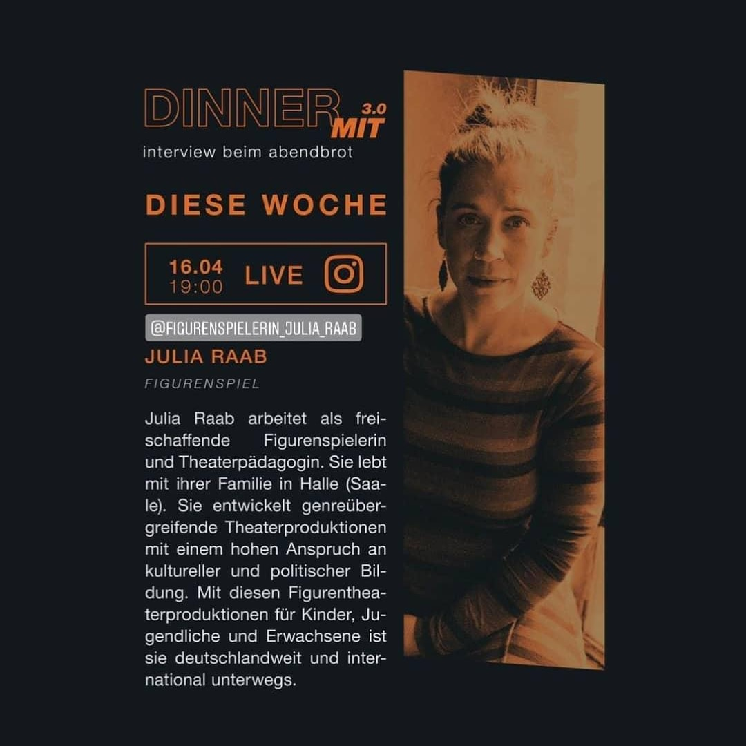 Veranstaltung DINNER MIT Figurenspielerin Julia Raab aus Halle (Saale) vom Lichthaus Halle